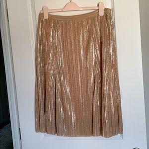 NWOT Maeve gold pleated midi skirt. Size Medium